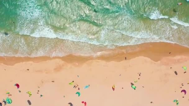 Aerial view. Big Waves rolling on coast ocean, breaking waves, shoreline.
