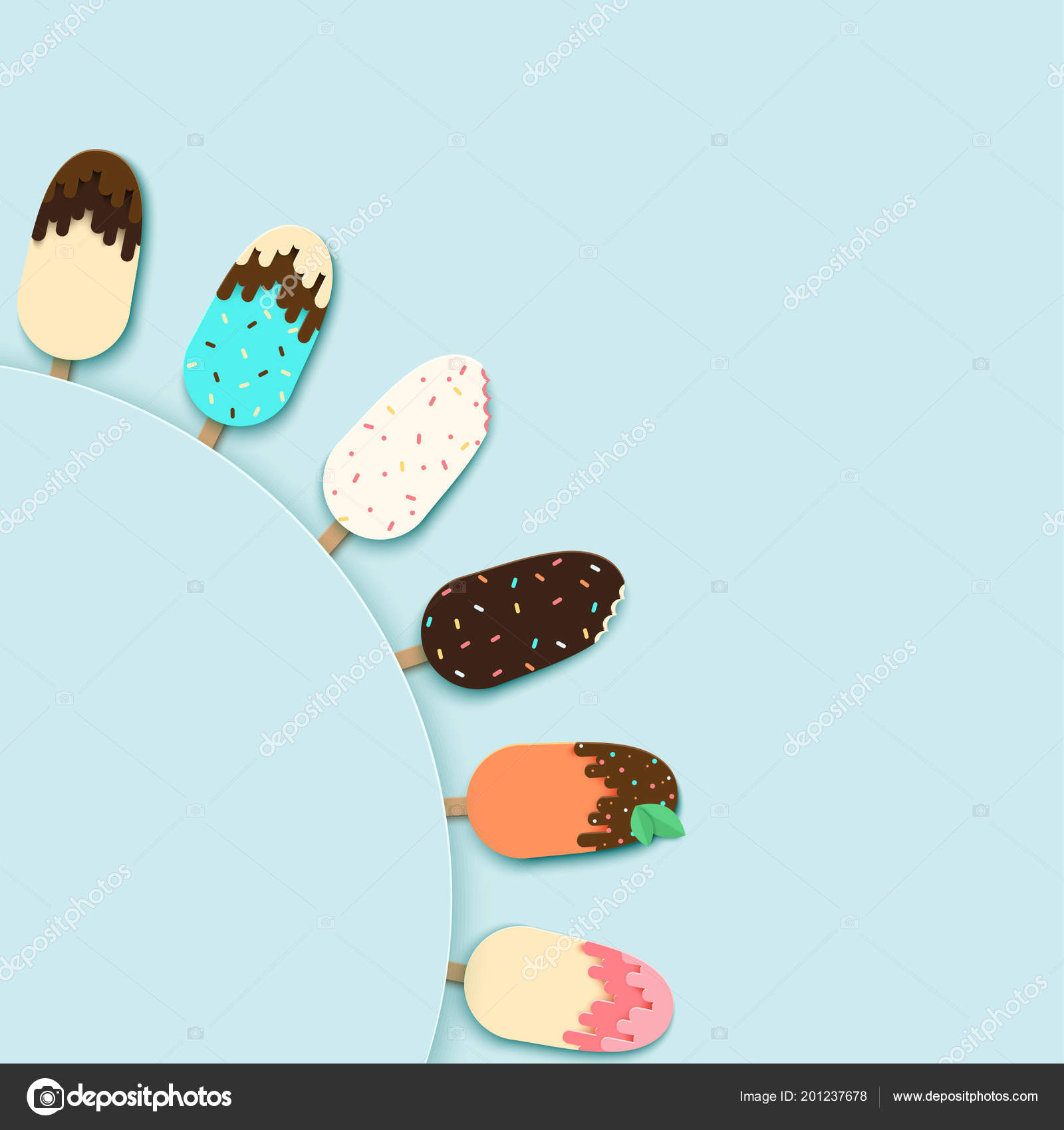template poster design set paper ice cream different confectionery