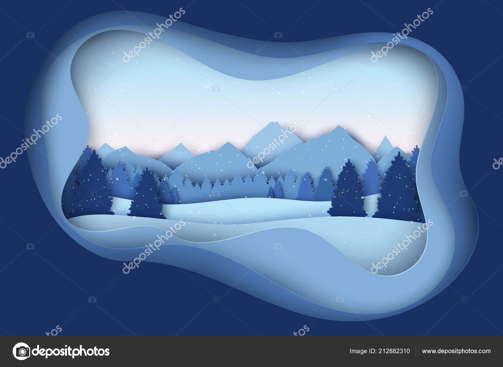 338e54143cf8da Paper Christmas Postcard Winter Landscape Pine Trees Mountains Hills  Snowflakes — Stock Vector