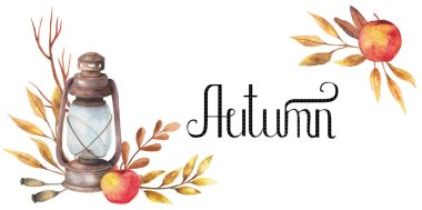 Watercolor background autumn design with lamp. apple, motley foliage, celebration harvesting. Hand-drawn watercolor illustration