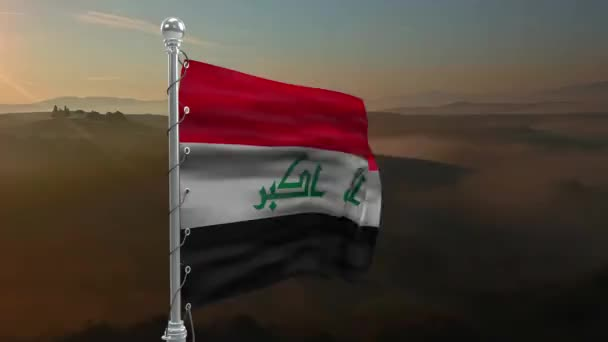 Flag of Iraqi, national symbol. Flag of Iraqi on background. Flag developing wave. Texture, national symbol.Illustration, symbol of the country. Iraqi nation, country flag.