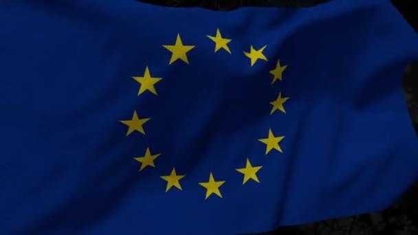 Symboly z Evropy. Vlajka EU na abstraktní pozadí. Evropské unie. Vlajka Evropské unie, národní symbol. Vlajka Eu na pozadí. Vlajka se rozvíjející vlna. Textura, národní symbol. Ilustrace, symbolem země. Země Evropské unie, zemí
