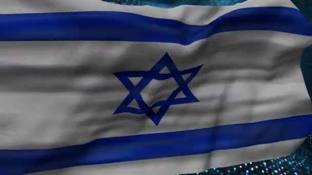 Symbols of Israel. Israel flag on an abstract background.  Flag of Israel, national symbol. Flag of Israel on background. Flag developing wave. Texture, national symbol.Illustration, symbol of the country.Israel nation, country flag.