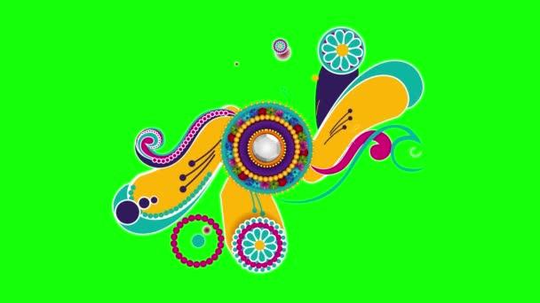 Vzorek na zeleném pozadí. Geometrický tvar na zeleném pozadí. Zelené pozadí, animace vzorku. Jasný vzor na zeleném pozadí. Krásný barevný animovaný vzor na zeleném pozadí.