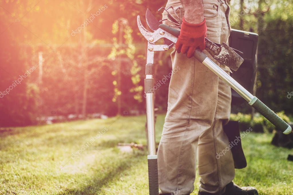 The man is holding gardening tools. The gardener has a secateurs, a shovel, scissors and other tools with him. Works in the garden, care for the garden.