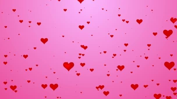 niedliche Herzmuster fließen auf rosa Hintergrund Bewegung video.valentine Herz Liebe Konzept