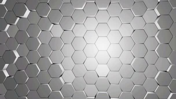 Weiß und grau Sechseck Hintergrundtextur-Motion-video. 3D Render Sechseck verschieben