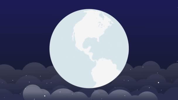 Forgó világ lapos 2D-s animációt a hely Background.Spinning és a loopable-föld földgolyó éjszakai jelenet
