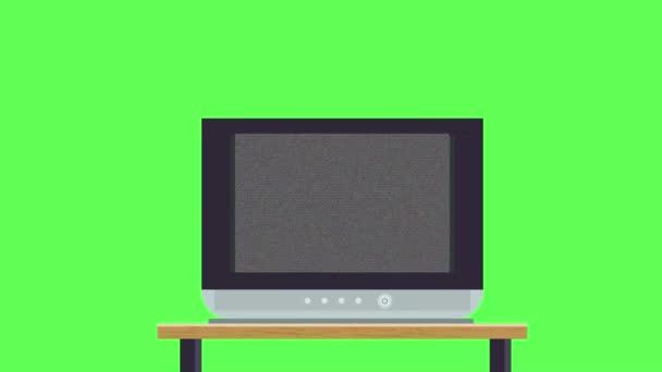 Régi TV asztalra, és nincs jel a zöld képernyő háttér videó