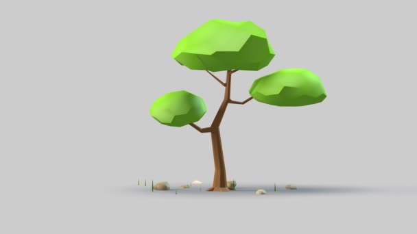 Tree 3d design with garden motion.Cute plant on gray background.