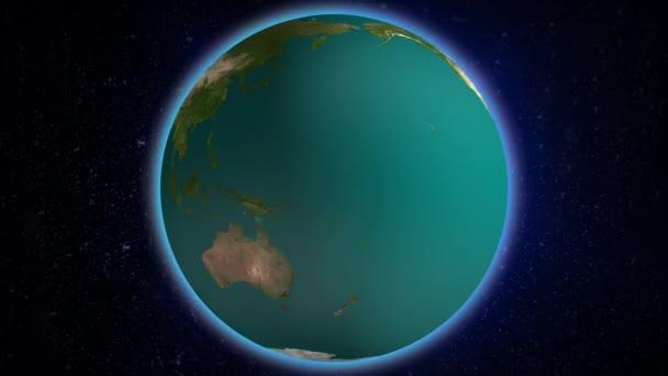 realistische Erddrehung mit schöner Aura, die auf Universum HD-Video leuchtet. Schlupflöcher. abstrakte Weltrotation Bewegung video.earth Raum Globus Planet Welt globaler Horizont Nacht und Sterne im All