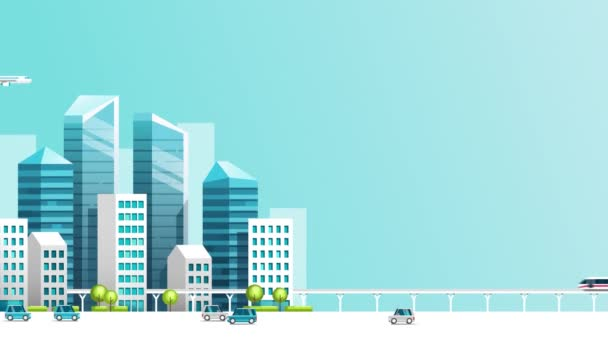 Smart city animation with car , train , building and sky.Growth town concept video.Motion graphic city landscape.