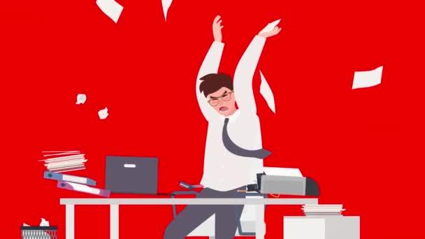 Mladý podnikatel naštvaný a podrážděný zaměstnanec animace.Angry a naštvaný podnikatel v kanceláři karikatury.Depressed muž v práci