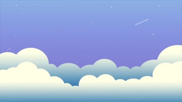 Duha v noční obloze s mraky a hvězdami, kreslená grafika. Příroda barvitá noc s hvězdou a duhou.