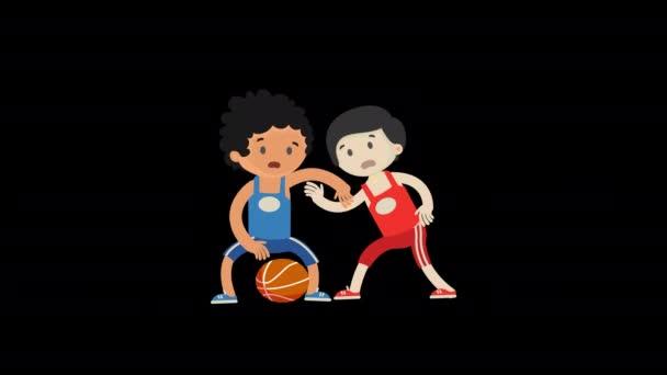 Personaggio dei ragazzi dei cartoni animati che giocano a basket con il canale alfa. Animazione video concetto di esercizio.