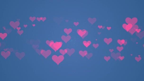 Srdeční částicové umění s modrou barvou pozadí. Mini srdce pro valentýny