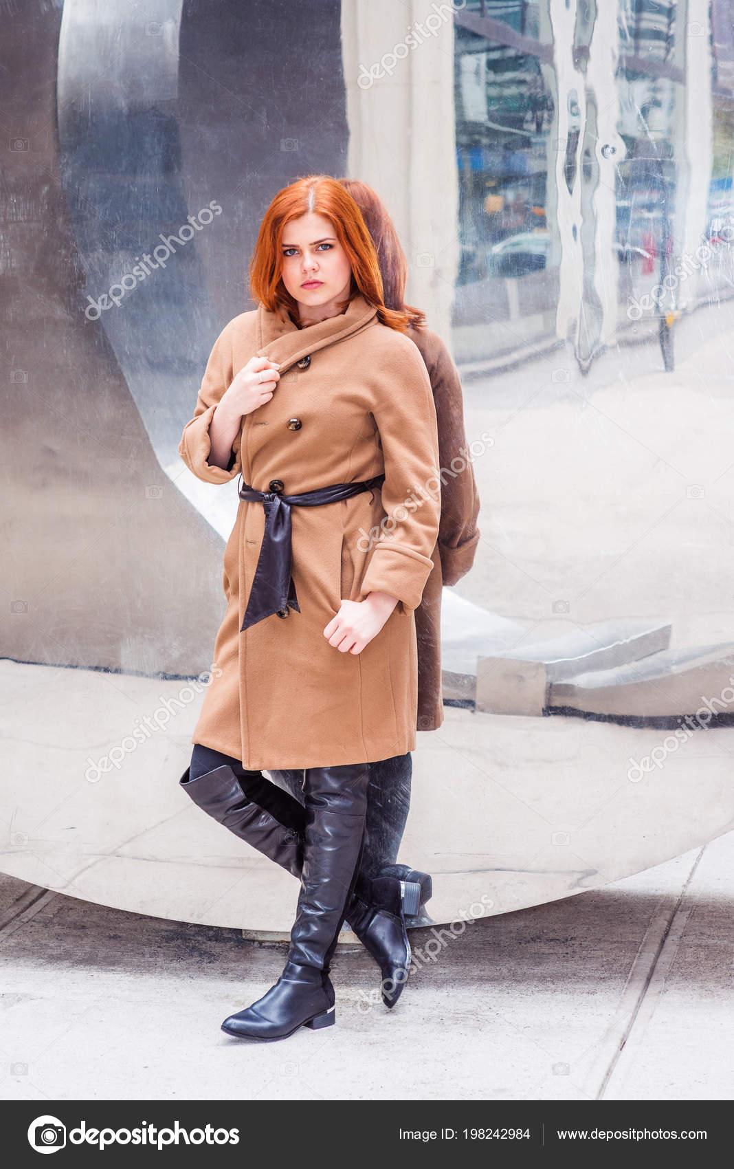 Young American Woman Wearing Long Brown Woolen Overcoat Belt Long