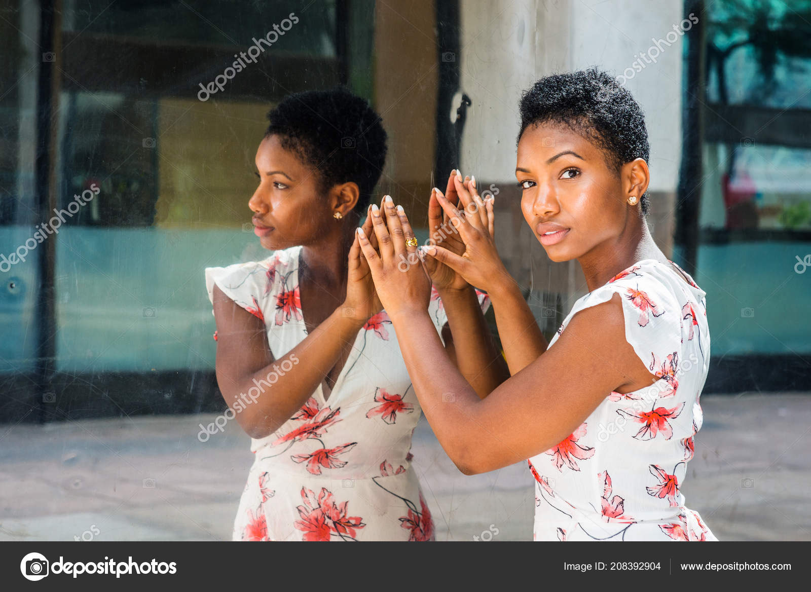 Pictures Short African American Hairstyles Young African American Woman Short Afro Hairstyle Standing Mirror New Stock Photo C Xcai 208392904