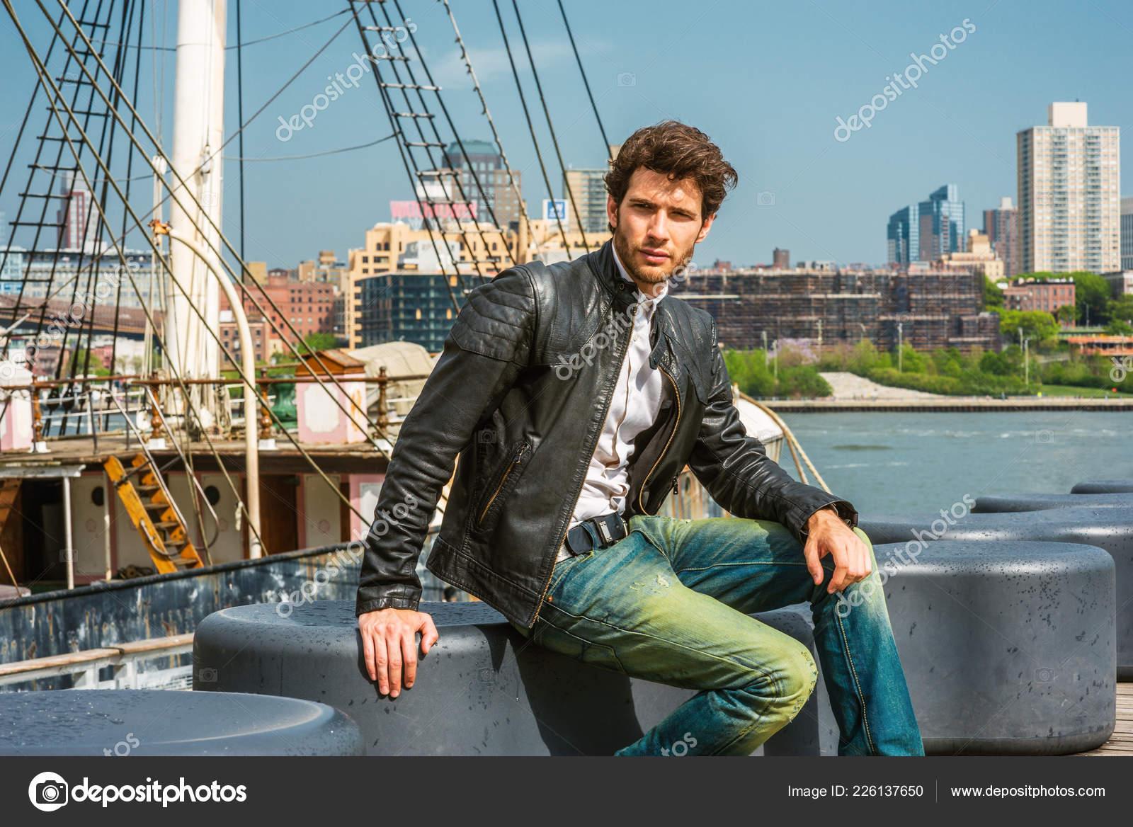 European Businessman Traveling New York Wearing Black