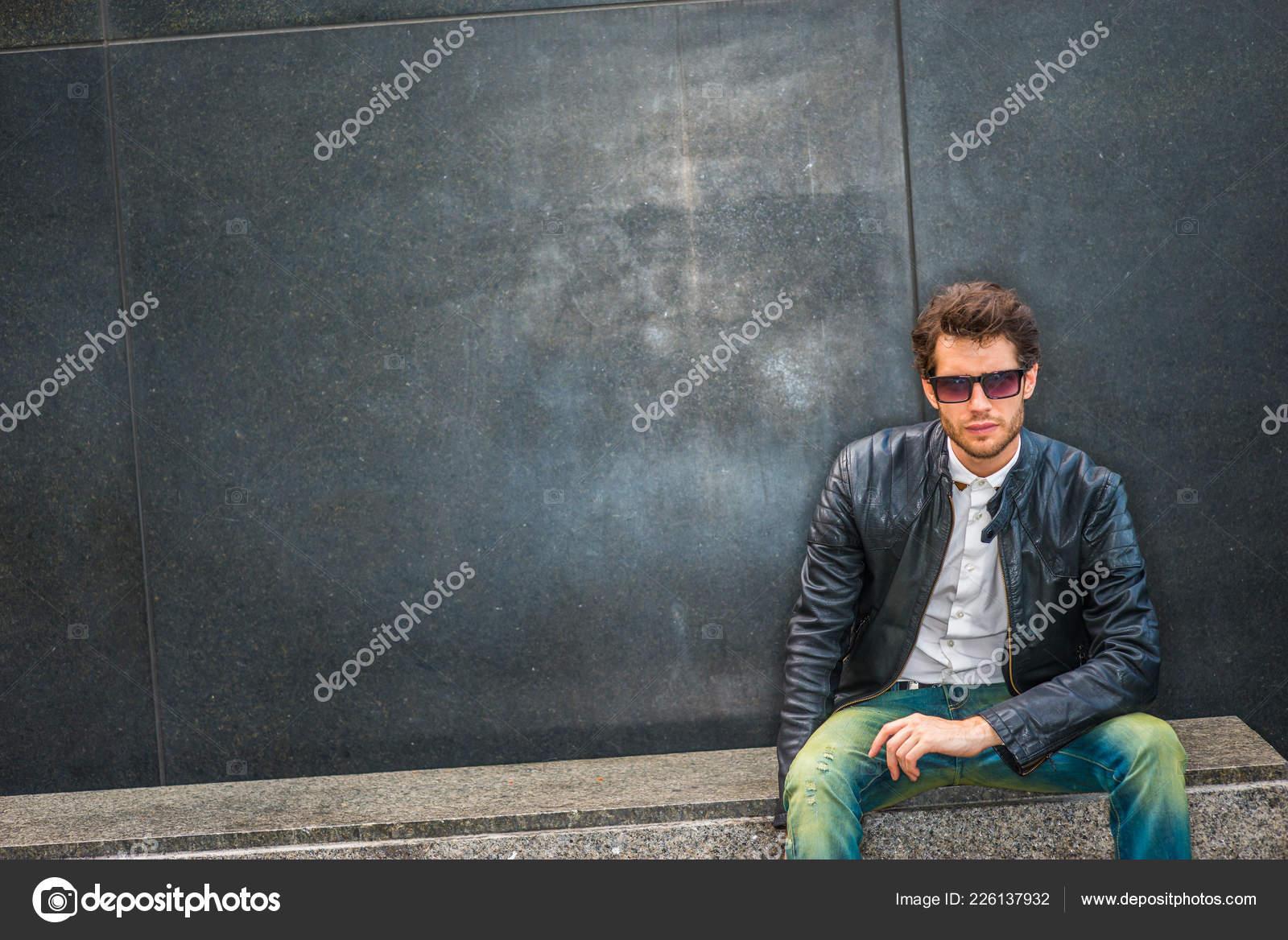 Dressing Black Leather Jacket Unbuttoned White Shirt Blue