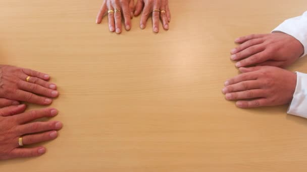 stop motion of overlapping hands as a symbol of friendship and excellent teamwork