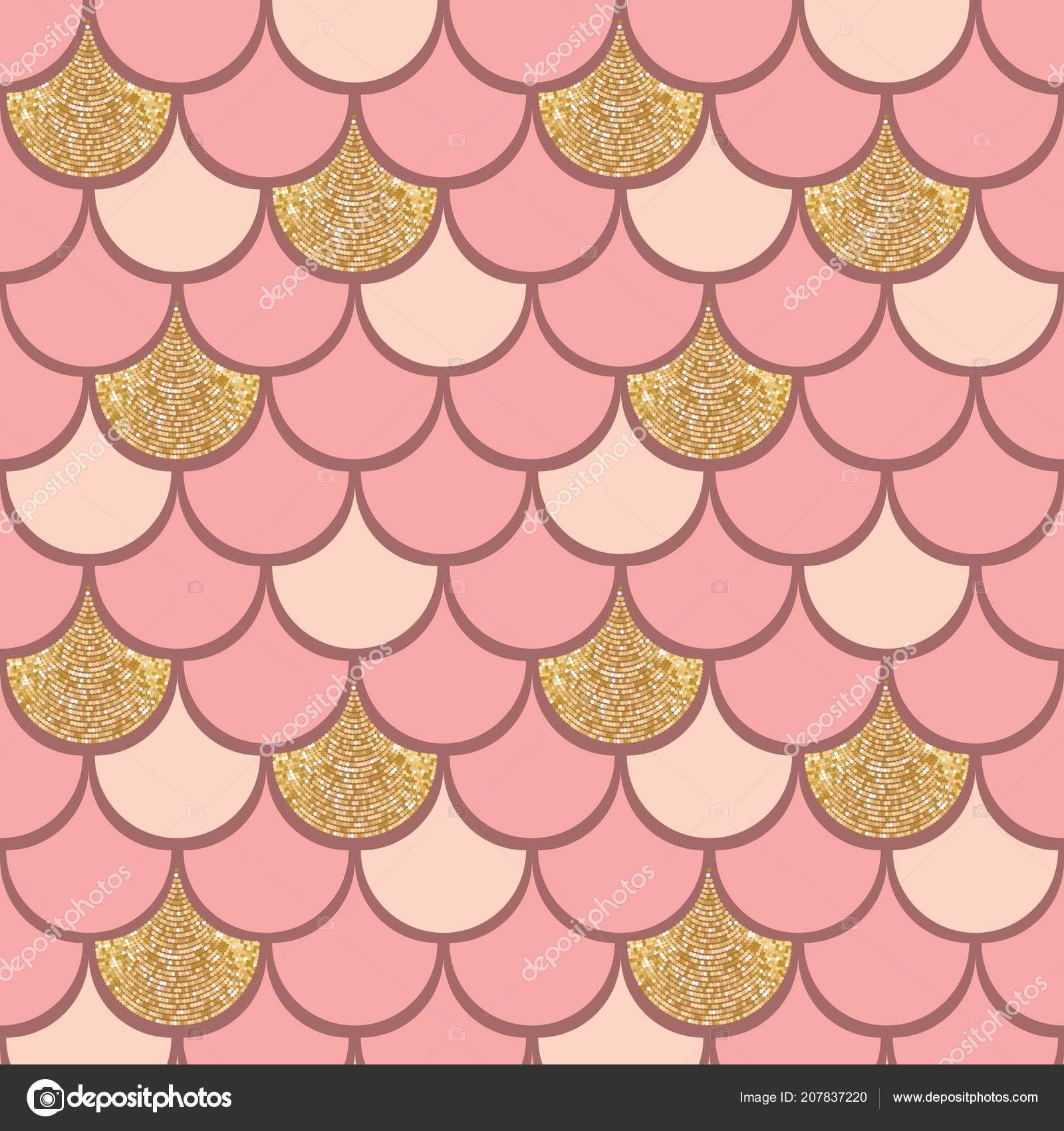 Rose Gold Fish Scale Vector Pattern Background Glitter Effect