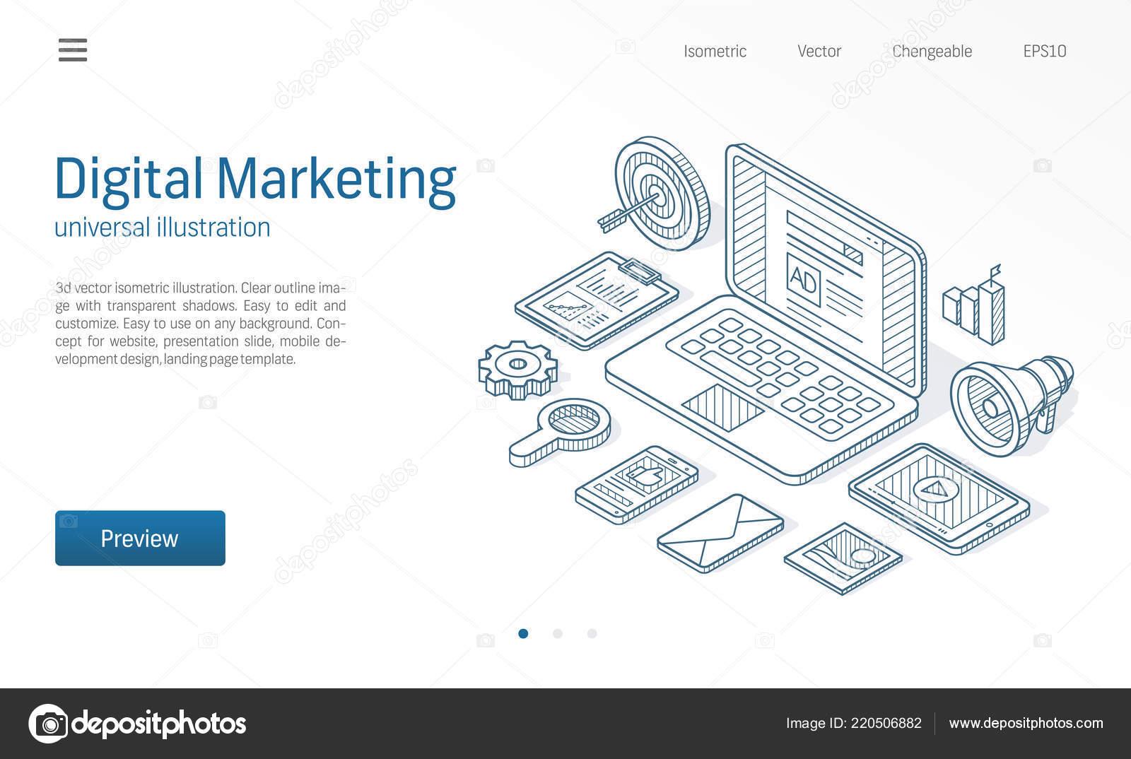 Digital Marketing Kampagne Seo Optimierung Moderne Linie