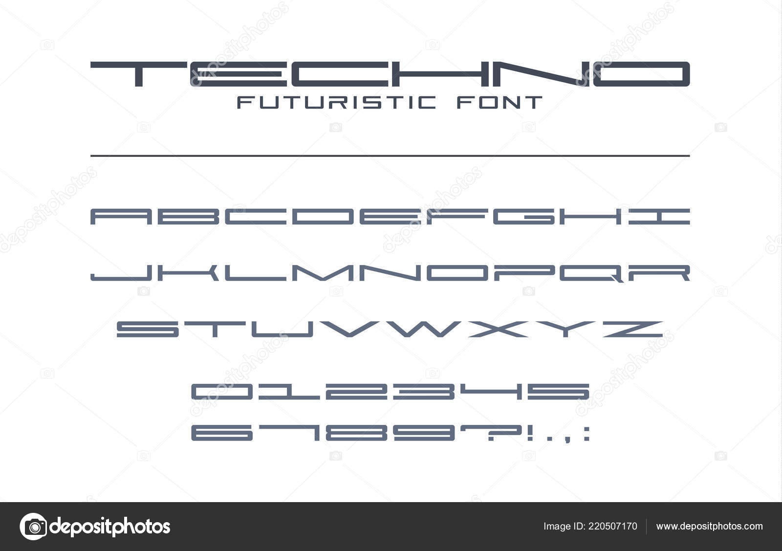 4a2294b8d Techno Futurista Fonte Ampla Alfabeto Tecnologia Digital Geométrica ...