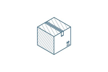 Carton box whith packaging tape isometric icon. 3d vector illustration. Isolated line art technical drawing. Editable stroke icon