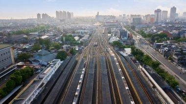 JAKARTA - Indonesia. September 04, 2018: Top view of railroad tracks at Jakarta Kota Train Station