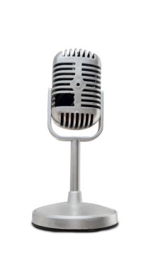 Image of ancient silver microphone, isolated on white background stock vector