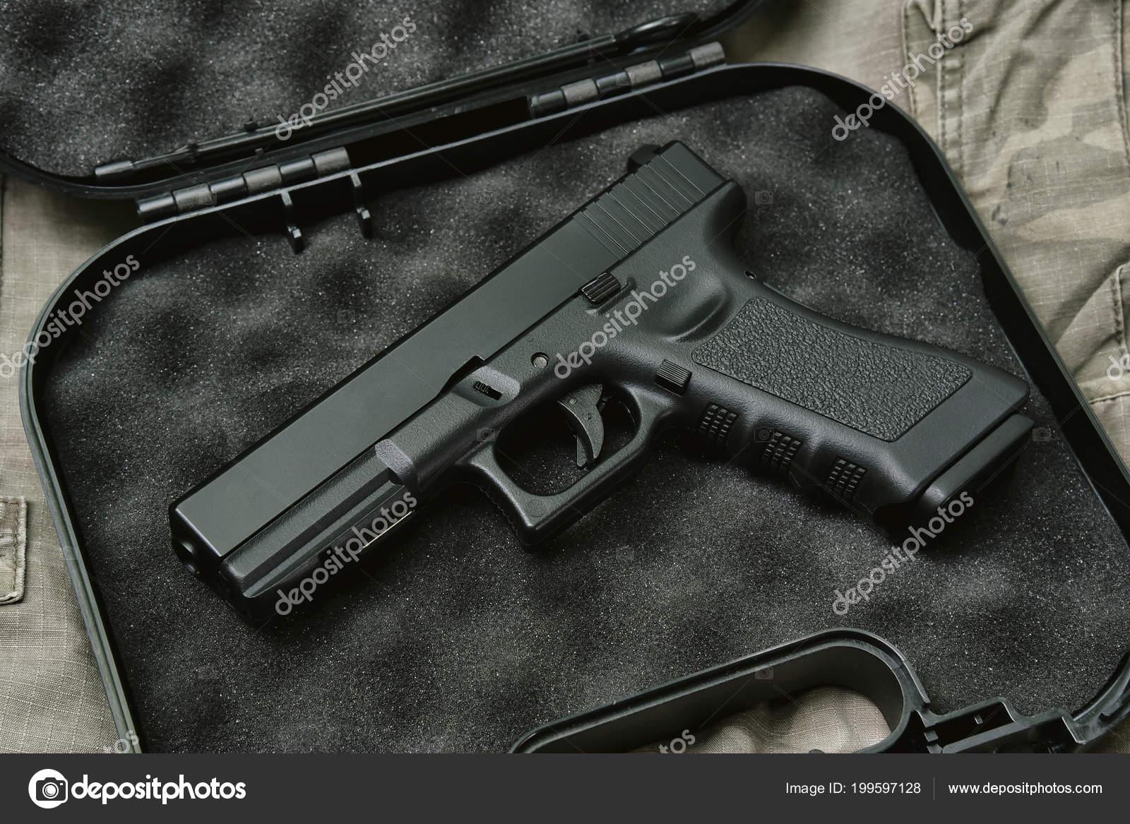 Pistol 9Mm Gun Weapon Series Police Handgun Close Camouflage