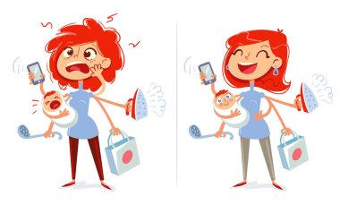 Multitasking mom and housewife. Tired and cheerful woman