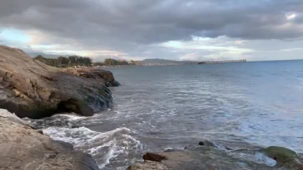 splashing ocean waves on the beach of Santa Barbara Goleta. Pacific Coast. California