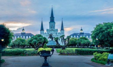 Dusk falls over St. Louis Cathedral and Jackson Square, New Orleans, LA