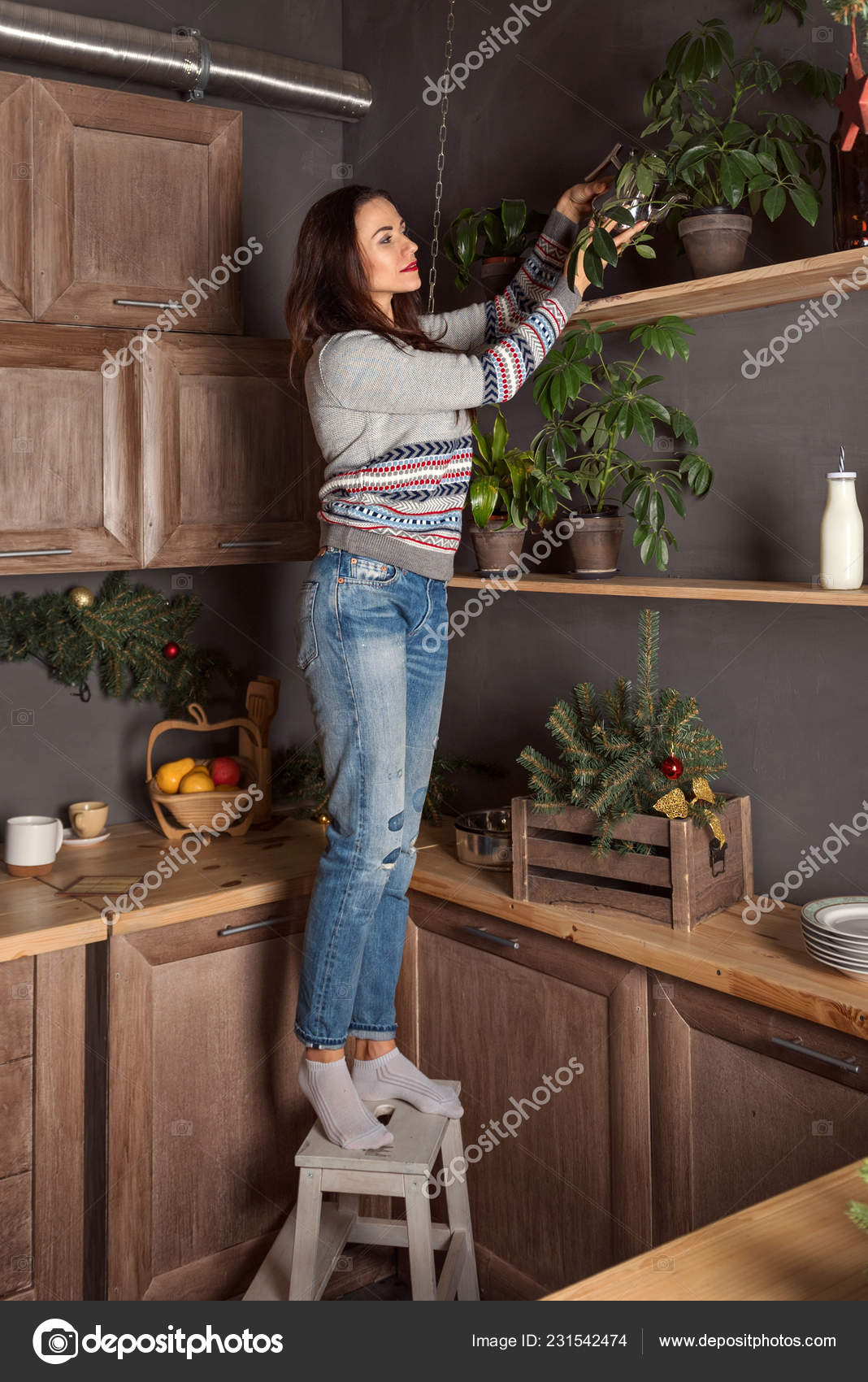 Astounding Woman Sweater Jeans Stands Stool Waters Flowers Upper Creativecarmelina Interior Chair Design Creativecarmelinacom
