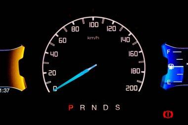 Odometer Car digital modern background black Technology