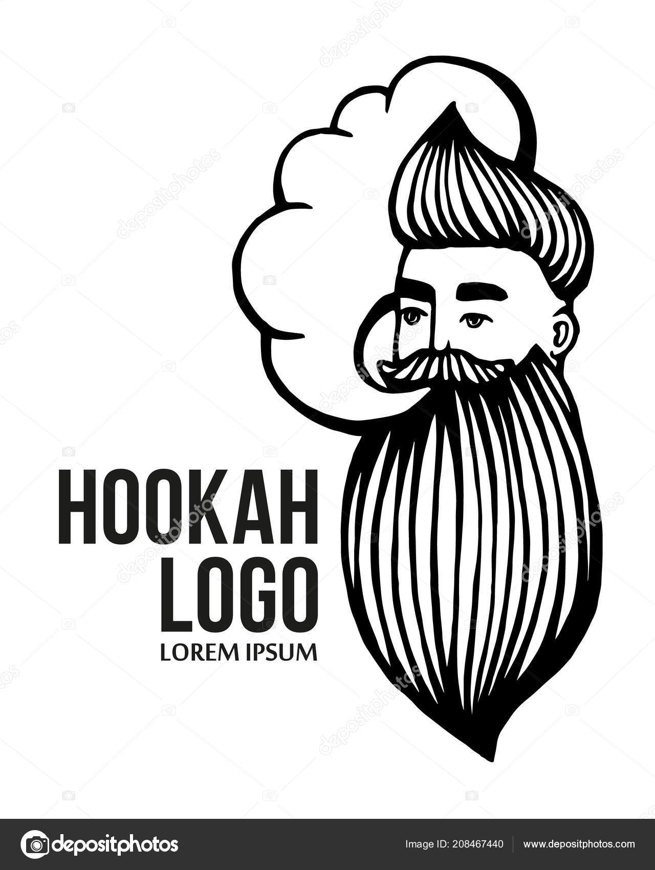 Hookah and drawn hipster logo with mustache and beard man with cloud vector hookah logo sticker logo emblem vector by art redboxgmail com