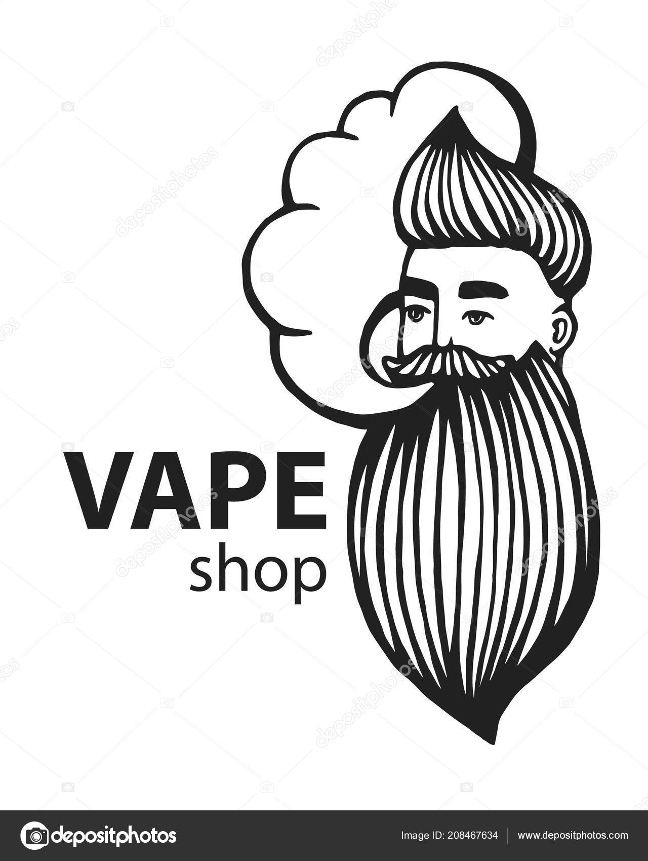 Hand drawn hipster logo with mustache and beard man with vape and cloud electronic cigarette vector stickers logo emblem vector by art redboxgmail