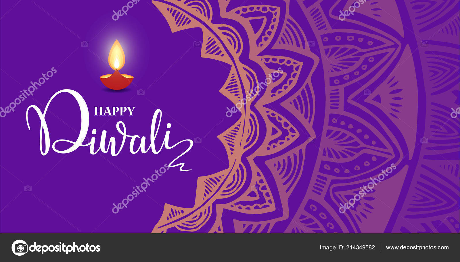 Happy Diwali lettering wallpaper design template. illustration of burning Diwali diya oil lamp for light