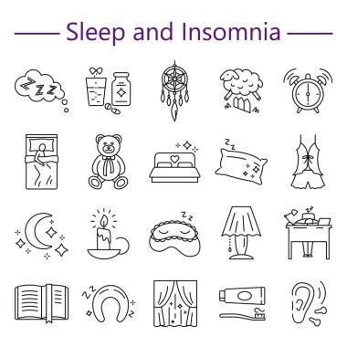 Sleep and Insomnia line icons set