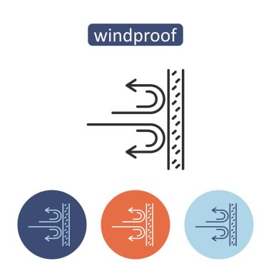 Wind proof material outline icons set.