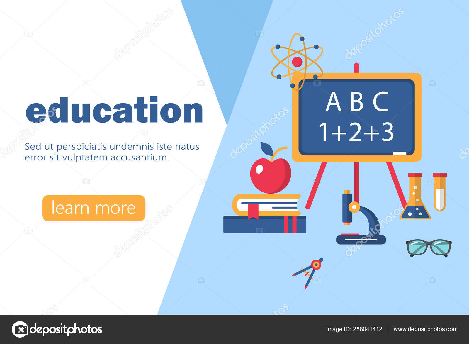 Education And Learning Banner Flat Design Template Stock Vector C Luckyvector 288041412
