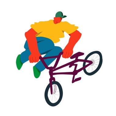 Guy on bmx make trick, disproportionate overtone flat vector illustration, isolated overexaggerated bicyclist on white background. Character people modern design.