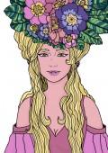 Fényképek Elszigetelt illusztrációja tündér primula virágok és levelek körülvett elegáns ruha hosszú hajjal. Ihlette art nouveau stílusban. A webes és a nyomtatási proje fekete körvonalú színes illusztráció