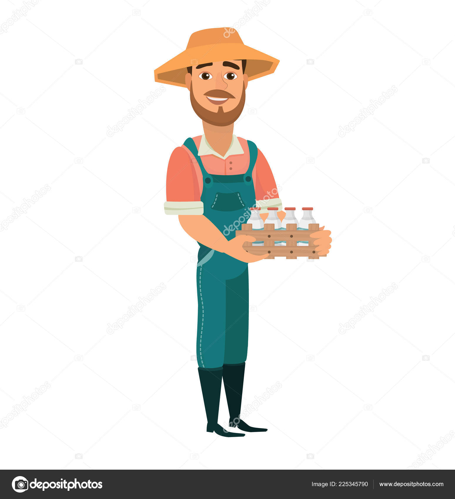 de45eaa47e4f Cartoon Farmer Cheerful Bearded Man Farm Worker Character Dressed ...