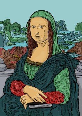 Colorful vector illustration of Leonardo da Vinci's painting