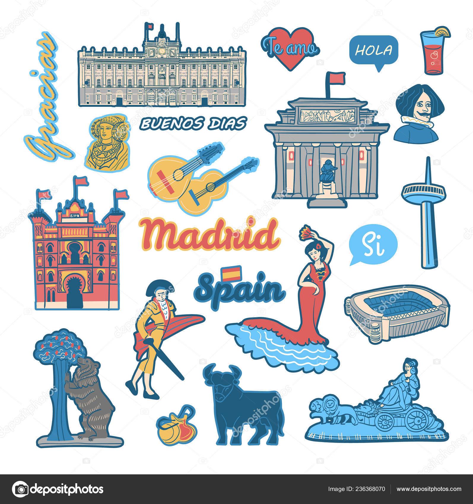 Conjunto Pegatinas Parches Con Símbolos Monumentos España