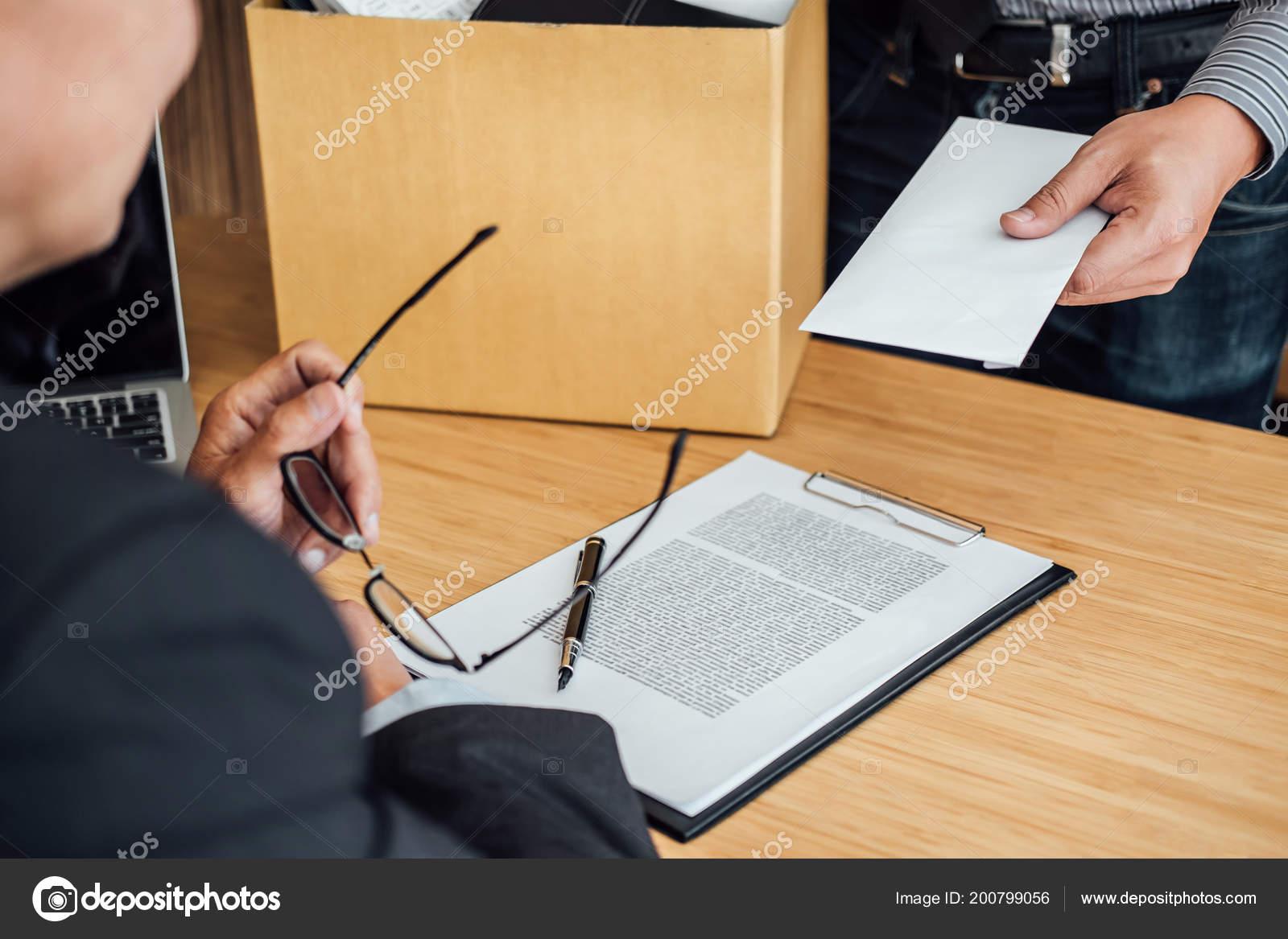 Image Businessman Hand Holding Cardboard Box Sending Resignation