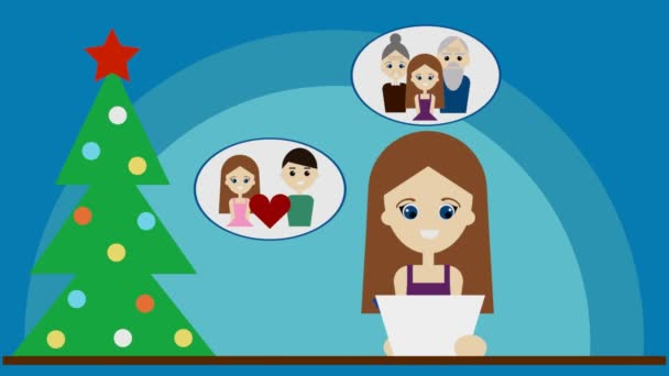 Žena píše novoroční předsevzetí 3d ilustrace. Koncept ročních slibů, jíst zdravé jídlo, navštívit rodinu častěji, zhubnout, jógu, darovat krev, najít lásku a hobby, cestovat více